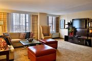 The living area of the Presidential Suite at the Pittsburgh Marriott City Center.