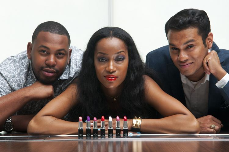 Jermelle Pitts, far left, and Joseph Chargois, right, founders of Body of Royalty cosmetics, with Houston model Krystal Knowles.