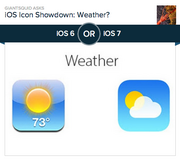 #5 most-liked app design: Weather  Apple's top designer Jonathan Ive got a lot of app designs right, at least according to the voters on Polar. First up is the new Weather app, which ditches the perpetually 73 and sunny icon against a glass background for a partly cloudy icon against a sky blue gradient. Of the 18,743 people who voted on Polar, 77 percent preferred the new design.