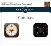 #4 most-liked app design: Compass  I've admittedly never used the Compass app on my iPhone, finding it a somewhat silly app. The only scenario where I could see myself using it would be a survival situation, where I'd probably question the effectiveness of the app in the wilderness. Turning to its design, people really don't like the app's current design--an old-fashioned nautical compass set in what appears to be a wooden box. The new, cleaner design is black and looks like it leaped out of an airplane's cockpit. Of the 18,791 people who voted on Polar, 79.2 percent preferred the new design.