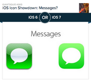 #2 most-liked app design: Messages  Interestingly, the Messages app and the Phone app look very similar, and roughly 8 out of 10 people agree for both that the new design is better. The Messages app icon was a white conversation bubble set against a green striped background. The new design is set against a flat, neon green gradient. Of the 19,543 people who voted on Polar, 81.9 percent preferred the new design.