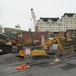 Deep pile driving starting for downtown Albany convention center