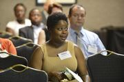 Leanna Westbrooks asks a question during a breakout session.