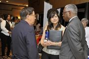 From left: Dr. John Chen, Carolinas Asian-American Chamber of Commerce; Maria Quant; and Donald Moore, Carolinas HealthCare System.