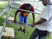 Workers constructed grandstands at Ramblewood Park in order to set up a temporary home for the Charlotte Independence.