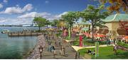The view of Wynn's proposed casino looking south along the Delaware River toward the Benjamin Franklin Bridge.