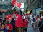 Store janitors walk-out for better wages and working conditons
