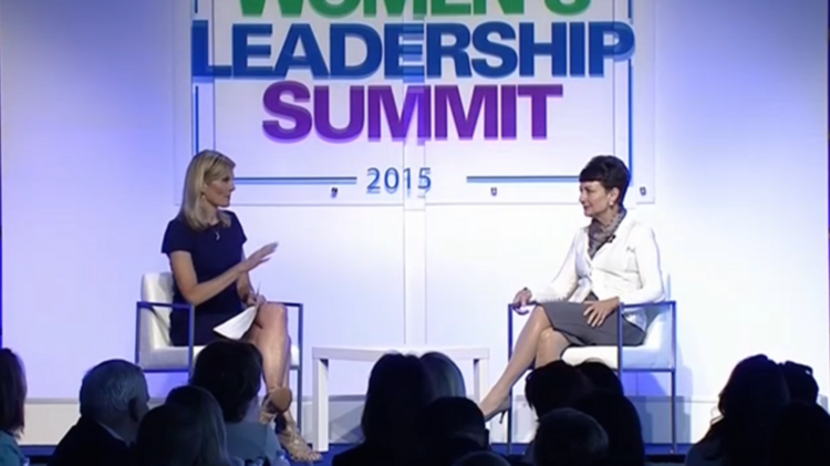 NBC news anchor Kate Snow (left) interviews Duke Energy CEO Lynn Goodafter her keynote adress at the KPMG WOmen's Leadership Summit