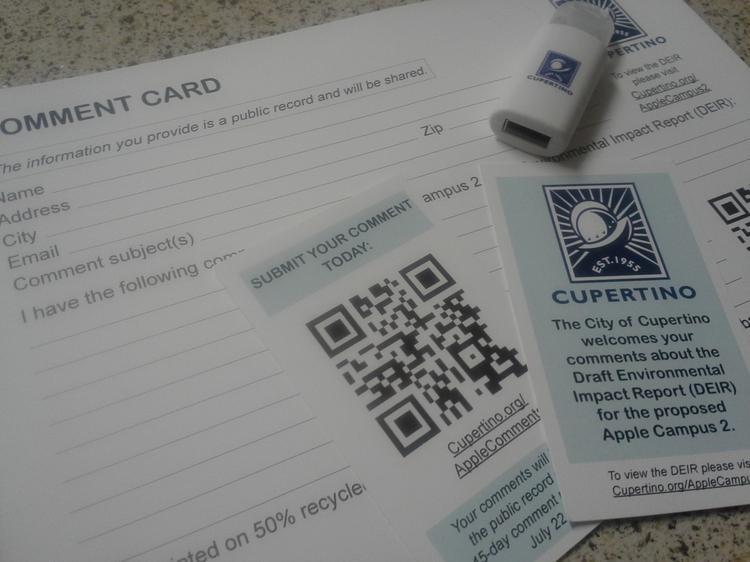 Cupertino's high-tech EIR comment cards, complete with a QR codes.
