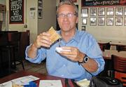 Peter Van Allen chows down at Jake's Sandwich Board in Center City.
