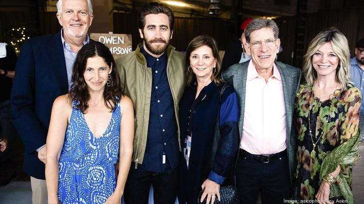 D.C. Greens hosted its inaugural K Street Farm Dinner June 2 at Dock 5 at Union Market, featuring A-list actor Jake Gyllenhaal. The event raised more than $200,000 to support food education, food access and food policy in the nation's capital. From left, Jack Davies of Venture Philanthropy Partners, Lauren Shweder Biel of D.C. Greens, Gyllenhaal, Shelley Holt, Allan Holt of The Carlyle Group, and Kay Kendall of CityDance.