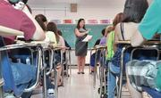 First day of classes at Colonie Central High School, 9th grade english teacher Mrs. Susan Vatalaro.