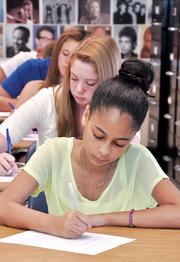 Colonie Central High School, first day of classes, 9th grade english student Nina DiLella.