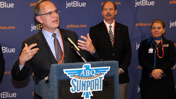 JetBlue CEO Dave Barger spoke at a press conference following the aircraft's first landing at the Albuquerque International Sunport.