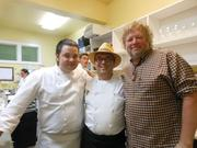 TROIS CHEFS: Chef Thierry Rautureau (center) was joined by chef de cuisine Rob Sevcik (left) and chef and restaurateur Tom Douglas on the last night for Rover's, Rautureau's French restaurant in Seattle's Madison Valley.