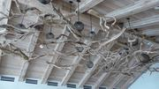 The driftwood chandelier in the lobby.