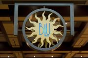 Sign at the entrance to Blu Italian Grill.