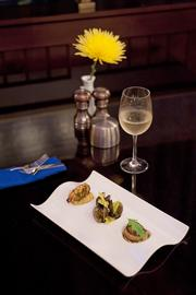 """A beautiful """"fruit de mar"""" creation by Blu executive chef Graham Weber features bites of fresh crab, shrimp and scallops."""