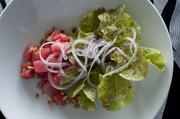 Macerated watermelon and red Bibb lettuce salad at Rivue.