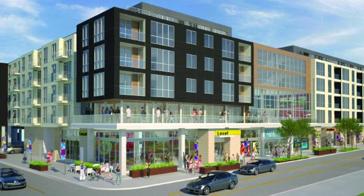 The planned apartment project will be six stories and include commercial spaces.