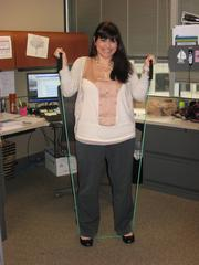 No. 3: Gallagher Benefit Services Inc. Score: 80.299 Asia Toufexis, compliance administrator, using a resistance band she keeps at her desk.