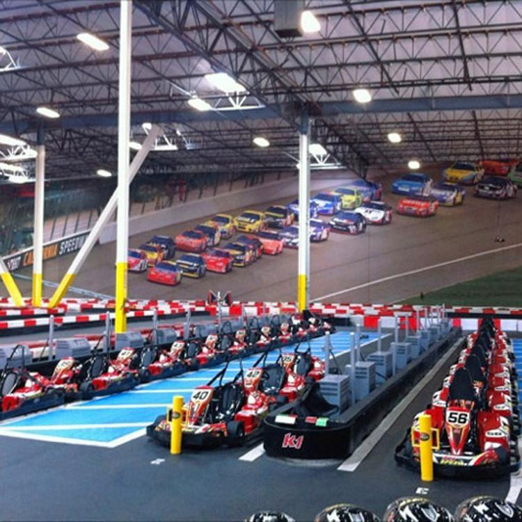 K1 Speed's tracks are professionally designed and make use of electric go-karts.