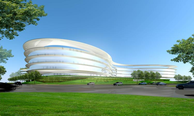 """Landbank Investments LLC's Central Sunnyvale Campus would feature three connected Class A buildings and a standalone amenities building wrapped in a curvaceous design. It's unlike anything a private developer has proposed of late, but Landbank's CEO Scott Jacobs says it won't be the last. """"I think this is the future,"""" he said. """"This is extremely leading edge."""" The project includes 740,000 square feet of office, 30,000 square feet in an amenities building, and four floors of office space above two floors of podium parking."""