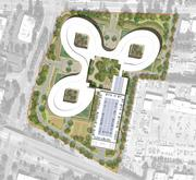 A site plan of the proposed layout shows the three sections of the connected campus and a parking structure on the 18-acre site at the eastern gateway to Sunnyvale. Construction would be post-tensioned, cast-in-place concrete,and 50 percent of the site would be preserved as open space.