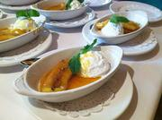 Bananas foster served with vanilla bean ice cream.