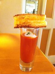Aix's signature smoked tomato soup was served in shot glasses to showcase the new grilled cheese sandwich, which features cheddar, provolone, mozzarella and tomato.