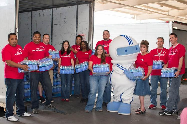Cox Communications' Corporate Water Bottle Challenge exceeded its goal of replenishing St. Mary's Food Bank Alliance's bottled water supply.