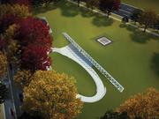 An aerial view of the future Education Center at the Wall, an underground visitor center steps away from the Vietnam Veterans Memorial.