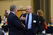 Jaxport Chief Operating Officer Chris Kauffmann, right,  talks with Business Journal Publisher David Sillick.