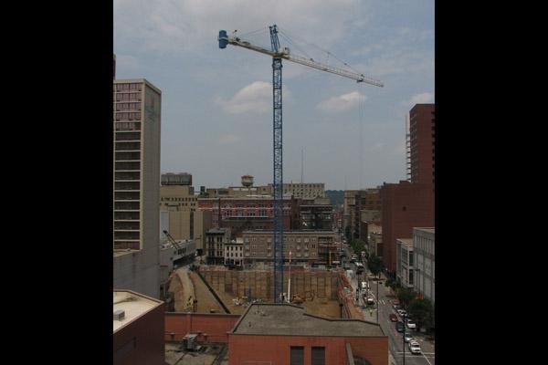 A view of the south tower crane at Dunnhumby Centre.