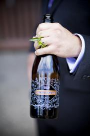 One of the grooms fashioned a wedding ring made out of hop vines taken from the brewery's hop garden.