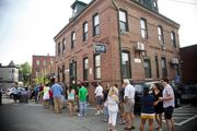 The line stretched well around the brewery.