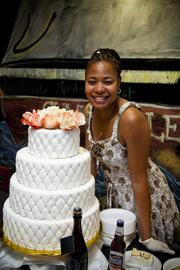 Inside the brewery, local small businesses, including members of the Samuel Adams Brewing the American Dream program, set up shop to share wedding advice and serve beer-infused wedding grub, like this wedding cake from Delectable Desires which uses Samuel Adams Boston Lager as an ingredient.