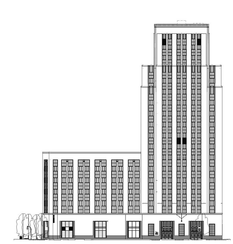 A preliminary frontal view of the 21c Museum Hotel in downtown Durham