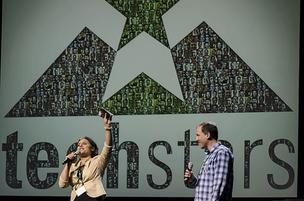 The TechStars Managing Director Nicole Glaros and its founder and CEO, David Cohen, at a recent gathering.