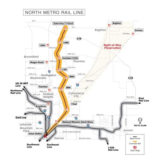 Map shows proposed route of the FasTracks North Metro rail line.