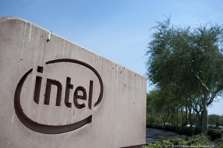An Intel sign outside the company's plant in Chandler, Ariz. A gas leak at the plant sent nearly a dozen people to the hospital over the weekend.