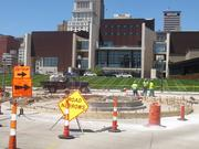 Construction on the roundabout being built at Theodore M. Berry Way at the mouth of the Roebling Suspension Bridge is progressing.