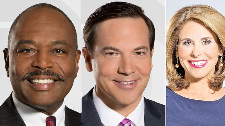 CBS3 on-air talents Chris May, Kathy Orr, and Beasley Reece