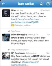 An Uber promoted tweet seeking to capitalize on the Bay Area BART strike.