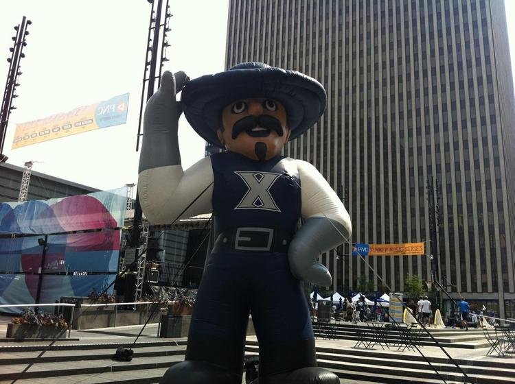 Xavier University took over Fountain Square on Monday to celebrate its first day in the Big East Conference.