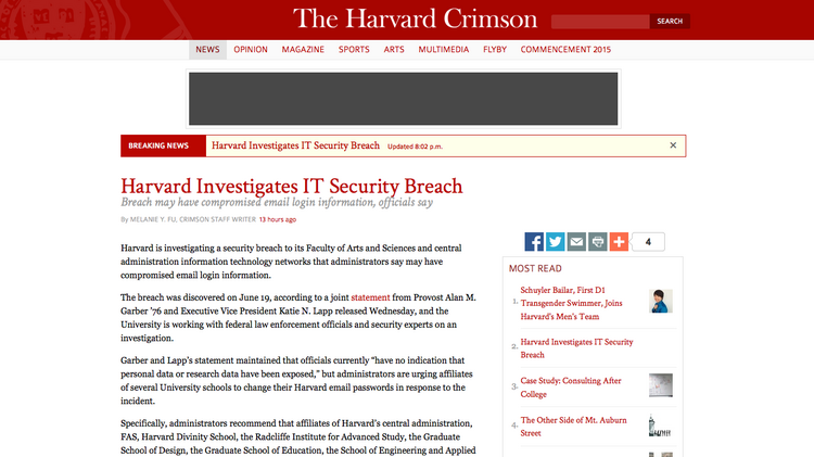 Harvard investigates security breach that may have
