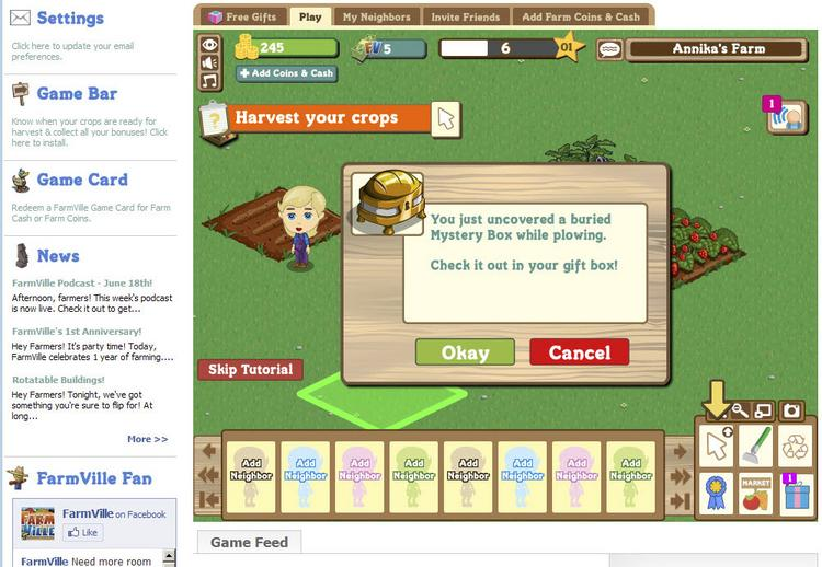 "A 2010 screen shot of Zynga's ""FarmVille"" video game."
