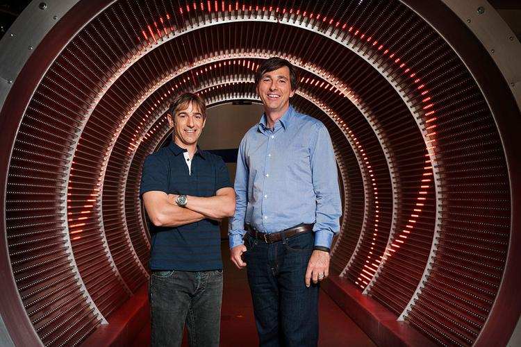 Mark Pincus, left, handed over the CEO role to Microsoft's Don Mattrick.