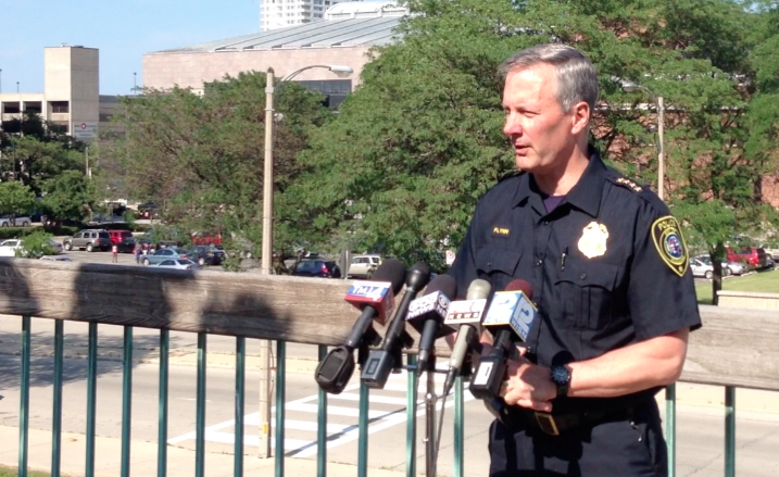 Milwaukee Police Chief Edward Flynn speaks at a press conference Monday afternoon regarding Saturday's incident at Summerfest.
