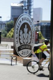 A bicycle repair station and ample bike parking — there's enough space for some 500 cyclists — helped the Portland Trail Blazers achieve LEED Gold status, from the U.S. Green Building Council, for the team's Rose Garden Arena.